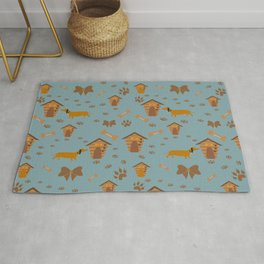 Cute Pattern with dog, dog paws and dog houses Rug