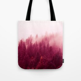 Red Forest Fog Tote Bag