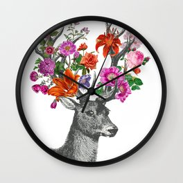 Deer and flowers Wall Clock