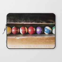 Group of vintage pool balls inside the table, closeup, retro style. Laptop Sleeve
