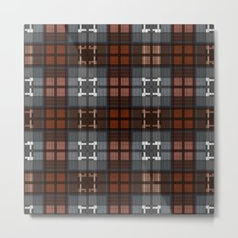 Dark black and blue plaid checkered Scandinavian design Metal Print