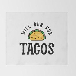 Will Run For Tacos v2 Throw Blanket