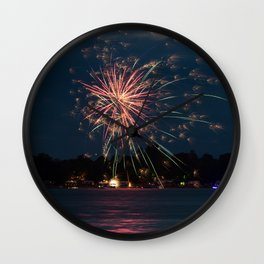 Fireworks Over Lake 35 Wall Clock