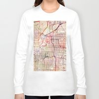 kansas Long Sleeve T-shirts featuring Kansas City by MapMapMaps.Watercolors