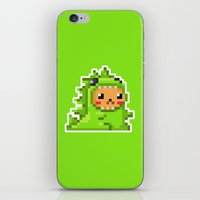 8bit iPhone & iPod Skins featuring 8bit Dinobear by Bear Picnic