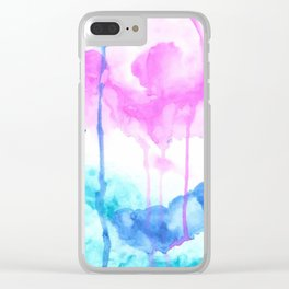 Pink, blue & turquoise abstract watercolors Clear iPhone Case