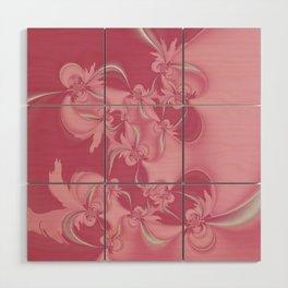 Pink Fractal Flowers Wood Wall Art