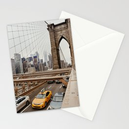 View on the manhatten from the Brooklyn Bridge in New York City, USA | New York City yellow caps driving | Travel photography | NY building architecture photo Art Print  Stationery Cards