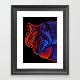 Fire Wolf Colorful Fantasy Animals Framed Art Print