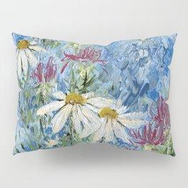 Wildflower Blues Garden Flower Acrylic Art Pillow Sham