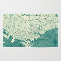 singapore Area & Throw Rugs featuring Singapore Map Blue Vintage by City Art Posters