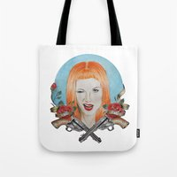 hayley williams Tote Bags featuring Hayley Williams Wanted! by Toma.