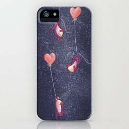 Penguins Rise with Heart Balloons to the Stars iPhone Case