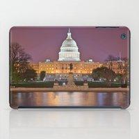 washington dc iPad Cases featuring Glowing Washington DC Capitol by Nicolas Raymond