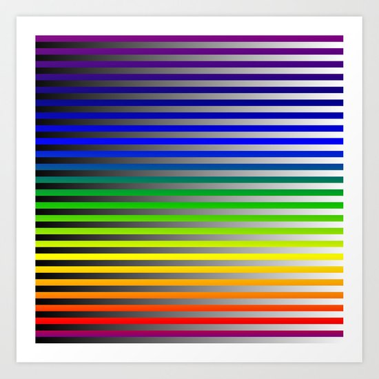 Rainbow with Black fade to White Art Print