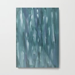 Touching Teal Blue White Watercolor Abstract #1 #painting #decor #art #society6 Metal Print