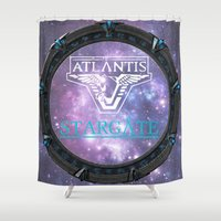 stargate Shower Curtains featuring Pegasus gate by Samy