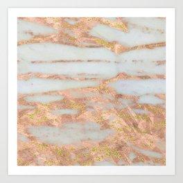 Creme Fraiche Marble with Rose Gold Veins Art Print