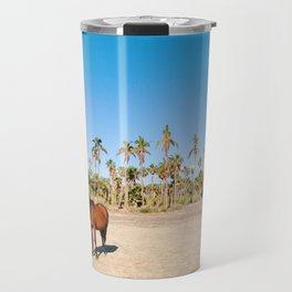 Wild horse on a beach with palm trees Travel Mug
