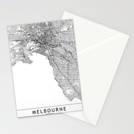 Melbourne White Map Stationery Cards