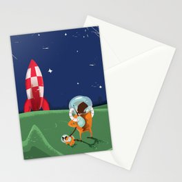 Dog Walking on the Moon Stationery Cards