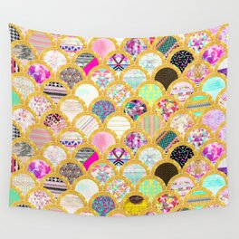 Modern Scallop Pattern Trendy Girly Gold Glitter Wall Tapestry