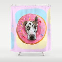 Great Dane Strawberry Donut Shower Curtain