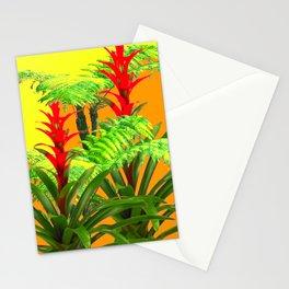 CONTEMPORARY FERNS & BROMELIADS YELLOW-ORANGE MODERN ART Stationery Cards