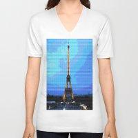 eiffel V-neck T-shirts featuring Eiffel by osile ignacio