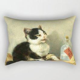 cute kitten 1- Julius Adam - the little patient -1885- pet,whikers,cat,kitty,kitten Rectangular Pillow