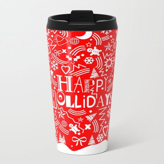 Happy Holidays Metal Travel Mug