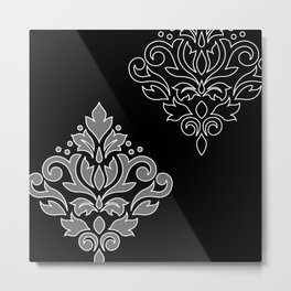 Scroll Damask Art I Wt Line Gray Blk Metal Print