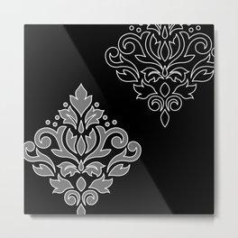 Scroll Damask Art I Wt Line Gray Blk Metal Print