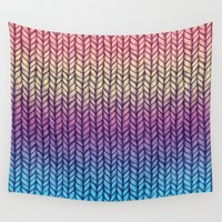 knit Wall Tapestries featuring Rainbow Gradient Chunky Knit Pattern by micklyn