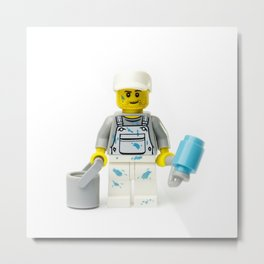 Painter painting Minifig with a roller and bucket Metal Print