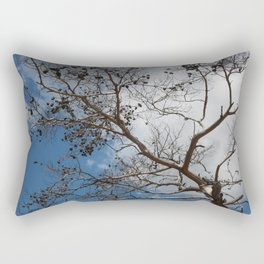 Skeleton of A Pine Tree Against Sky and Clouds Rectangular Pillow