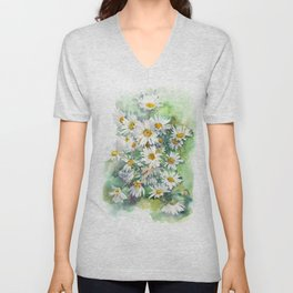 Watercolor chamomile white flowers Unisex V-Neck