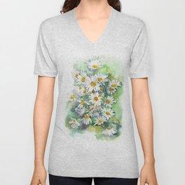 Watercolor chamomile white flowers Unisex V-Neck
