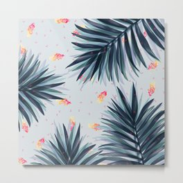 Unique Delicate Tropical Leaves Pattern Metal Print