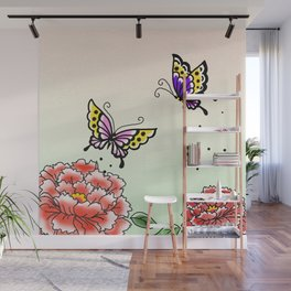 Two peony and two butterflies~牡丹と蝶々~ Wall Mural