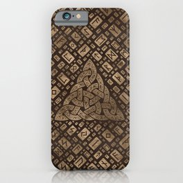 Triquetra and Runic Alphabet Wood and Gold #2 iPhone Case