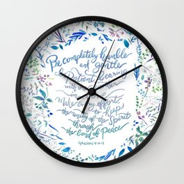 Be Humble & Gentle - Ephesians 4:2-3 Wall Clock