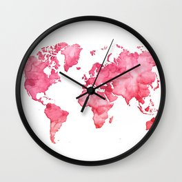 Raspberry watercolor world map Wall Clock