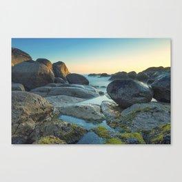 Ocean between the rocks by the beach Canvas Print