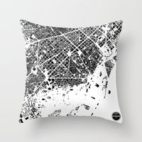 barcelona Throw Pillows featuring Barcelona by Maps Factory