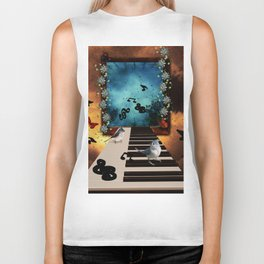 Music, piano with birds and butterflies Biker Tank