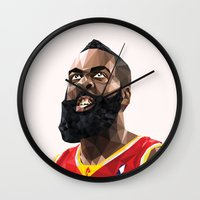 nba Wall Clocks featuring James Harden by Roland Banrevi