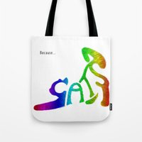 because cats Tote Bags featuring Because... Cats by J ō v