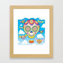 Sugar Skull Hot Air Balloon Framed Art Print