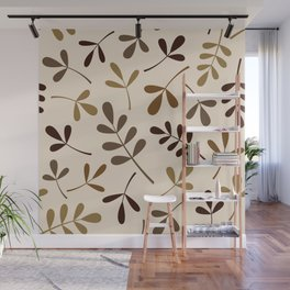 Assorted Leaf Silhouettes Gold Browns Cream Wall Mural